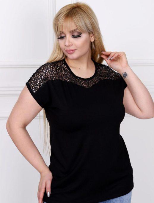 Bluza neagra cu dantela si paiete Cod: 711-7031