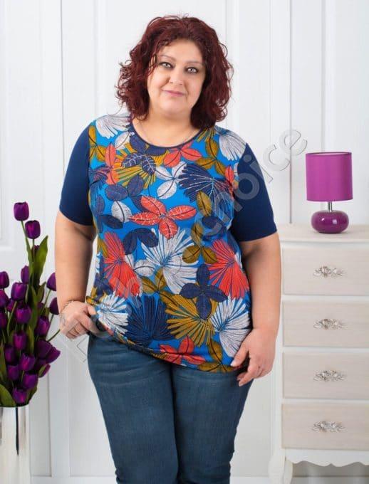 Bluza maxi cu imprimeu colorat Cod: 711-7058