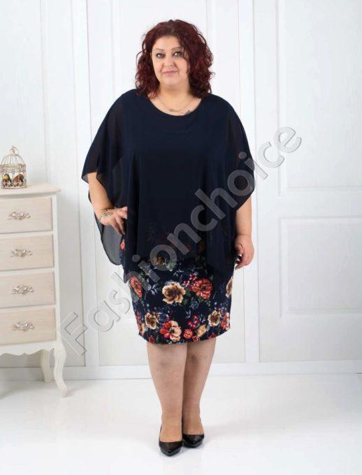 Rochie maxi cu imprimeu floral si sifon- bleumarin Cod 540-2