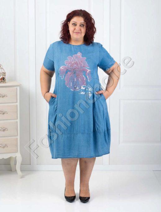 Rochie de blugi cu motive florale Cod:527
