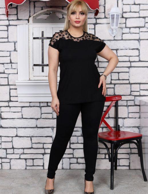 Bluza eleganta cu dantela- negru Cod:711-7011