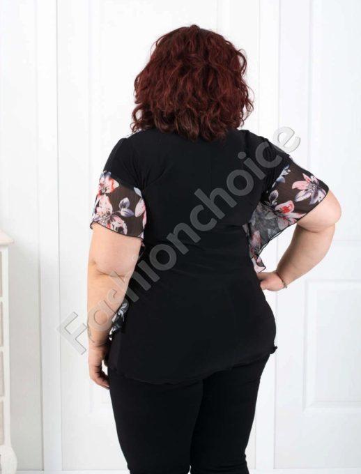 Bluza din sifon cu motive florale Cod:005-190-2