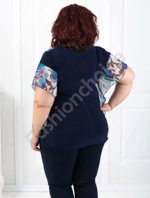Bluza maxi din sifon cu motive florale Cod:005-190-1