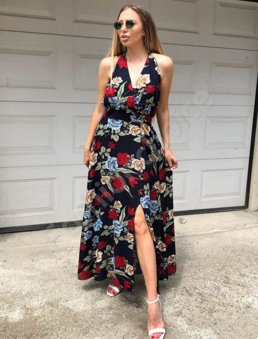 Rochie eleganta cu imprimeu floral-bleumarin Cod:837-1