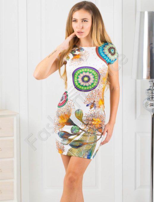 Rochie scurta cu print floral-multicolor Cod:819-4