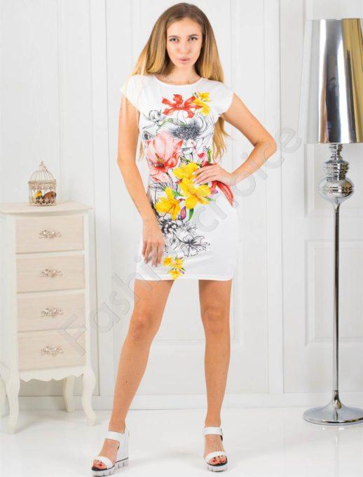 Rochie scurta cu print floral-alb Cod 819-5