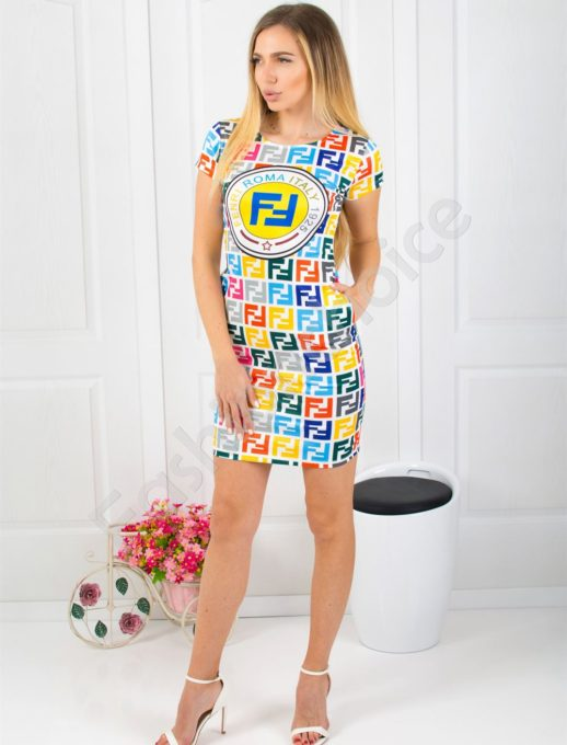 Rochie scurta cu print interesant- multicolor cod 819