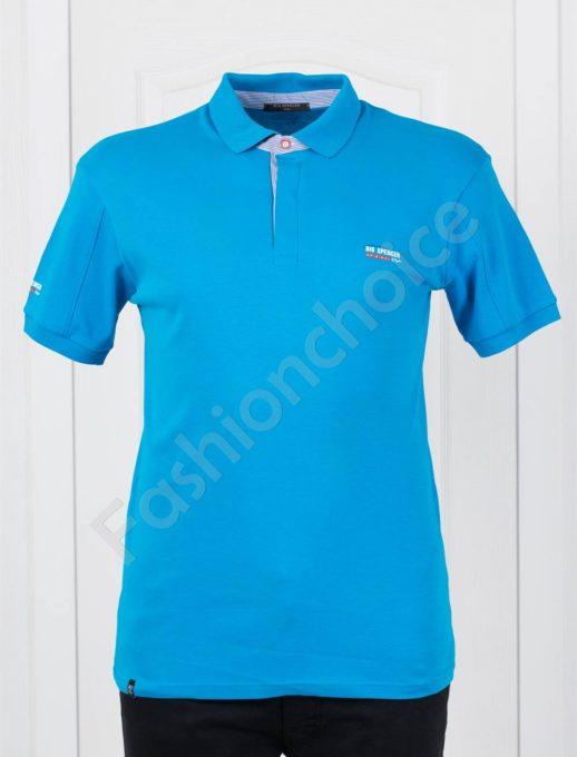 Bluza maxi cu guler si nasturi-albastru Cod 143-4