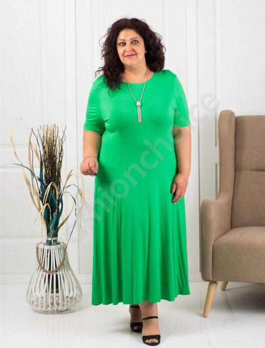 Rochie maxi in clos culoare verde+cadou colier-cod 535-6