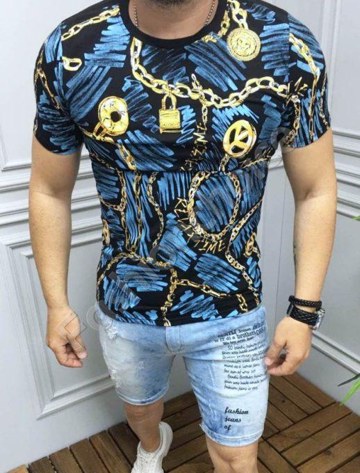 Tricou barbati cu imprimeu interesant- albastru Cod 533
