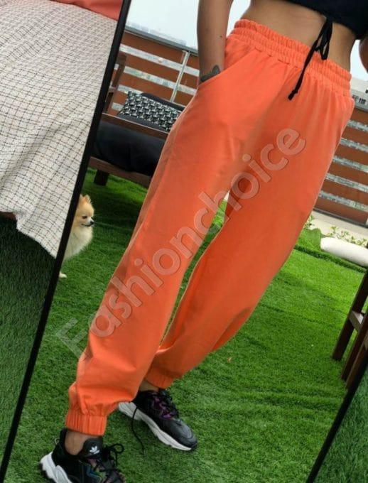 Pantalon sport cu talie inalta- orange Cod 955
