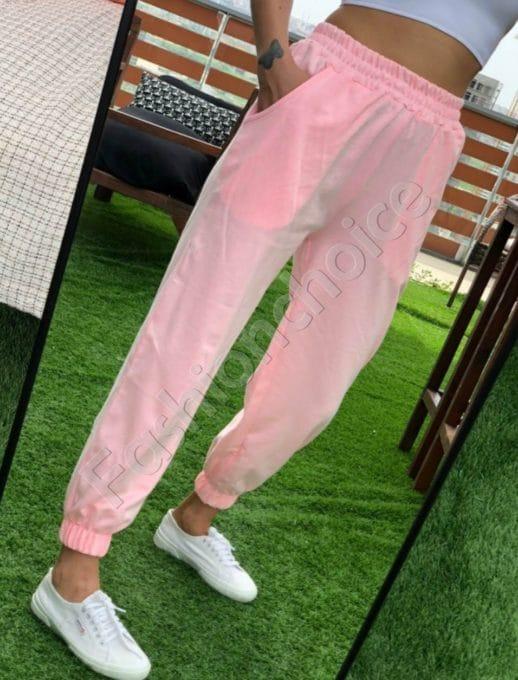 Pantalon sport cu talie inalta- roz- Cod 955-2