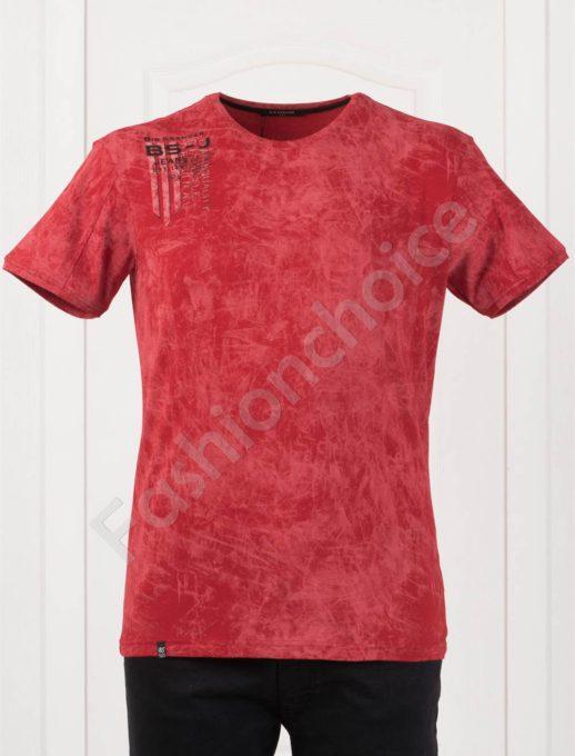 Tricou maxi cu imprimeu pe umar-rosu-cod 148