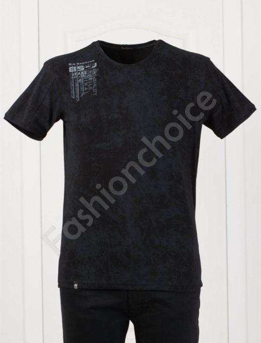 Tricou maxi cu imprimeu pe umar-negru-cod 148-3
