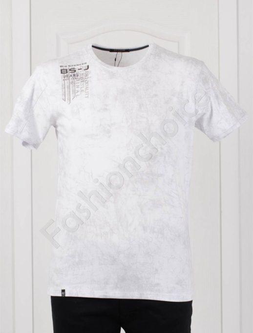 Tricou maxi cu imprimeu pe umar-alb-cod 148-2