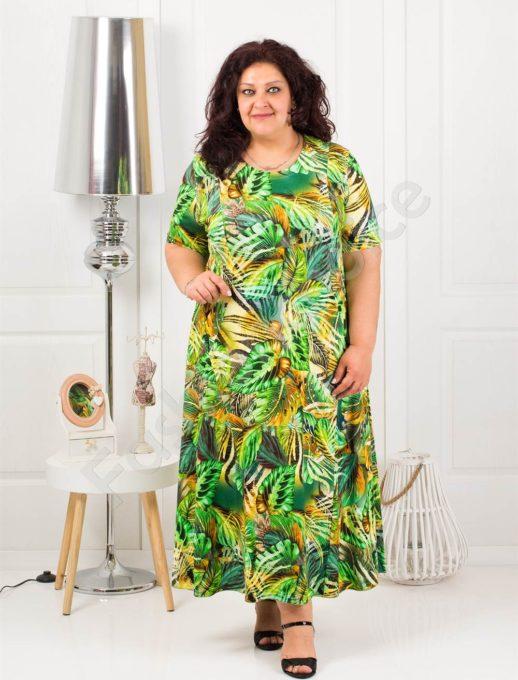 Rochie maxi cu imprimeu exotic- verde Cod 1110-8