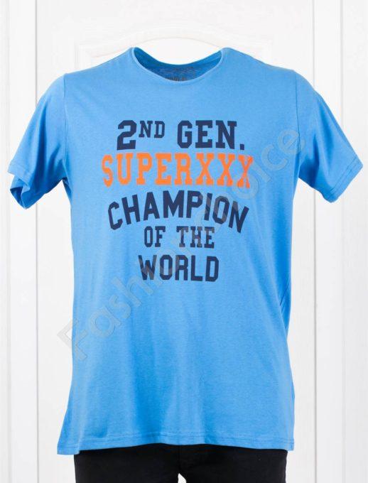 Tricou maxi cu inscris CHAMPION-deschis albastru - cod 118-4