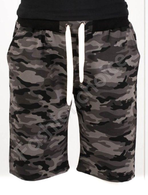 Pantalon scurt cu imprimeu camuflaj- negru cod 511-1