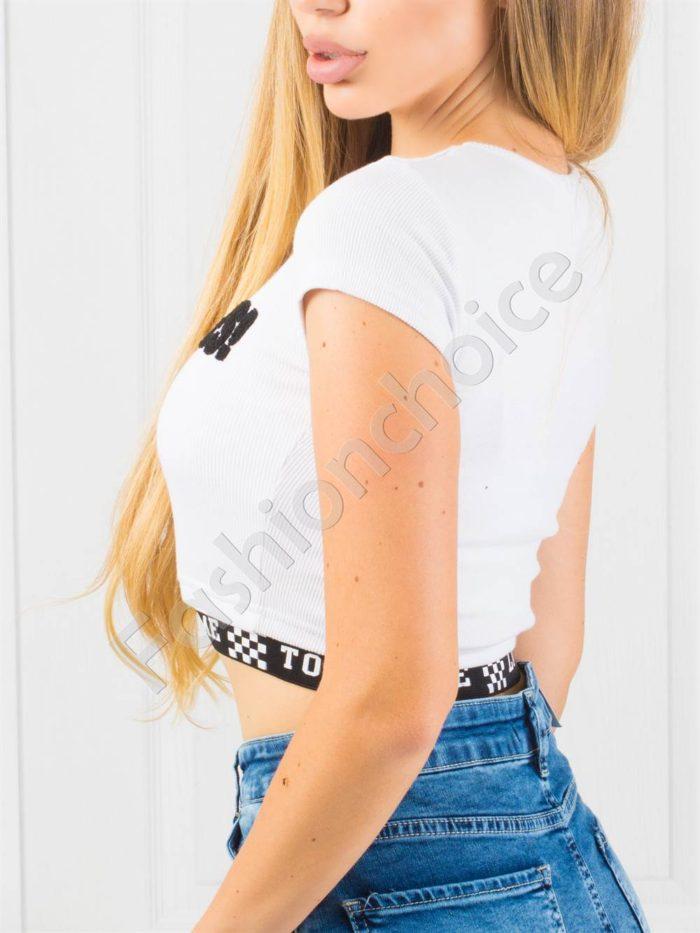 Bluza moderna, scurta cu inscris YES -alb- cod 866
