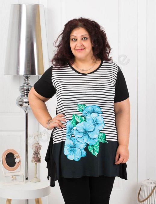 Tunica eleganta in dungi si imprimeu floral- albastru Cod 0683