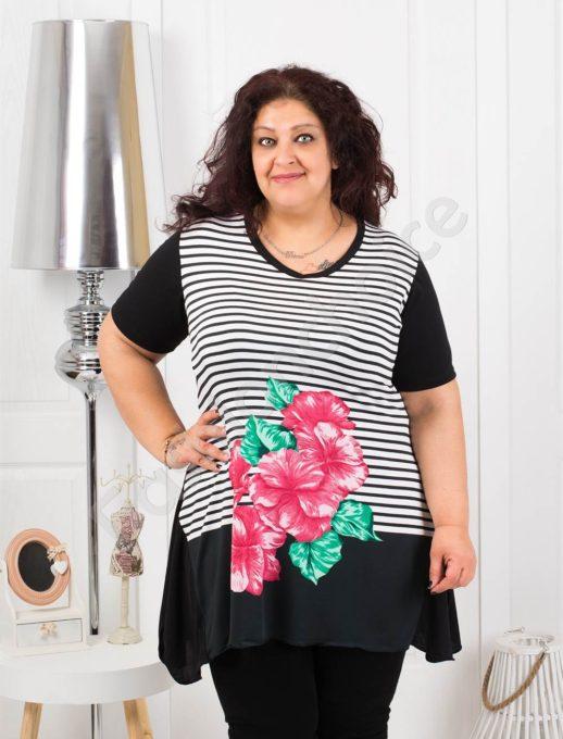 Tunica eleganta in dungi si imprimeu floral- rosu Cod 0683-1