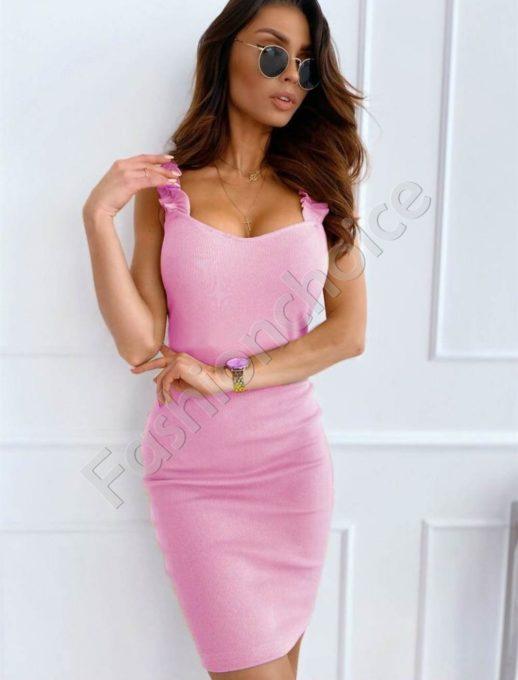 Rochie de vara cu bretele -roz cod 486-6