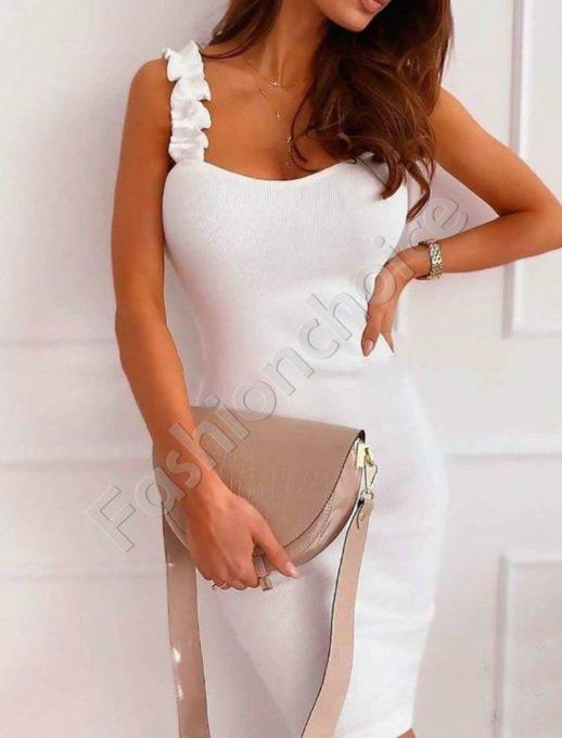 Rochie de vara cu bretele - alb cod 486-3