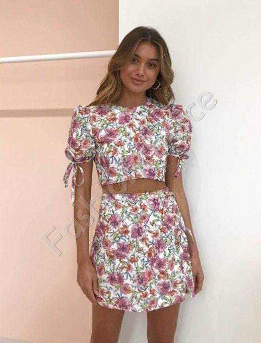 Compleu elegant top si fusta cu print floral - cod 983