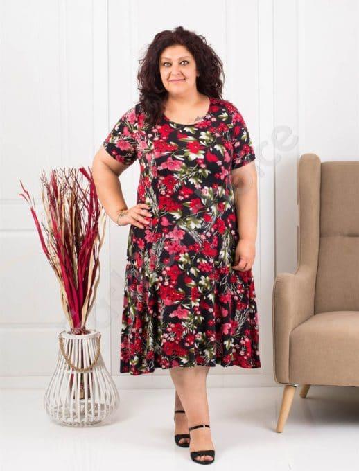 Rochie eleganta cu print floral/ 2XL, 3XL/-rosu- cod 0606
