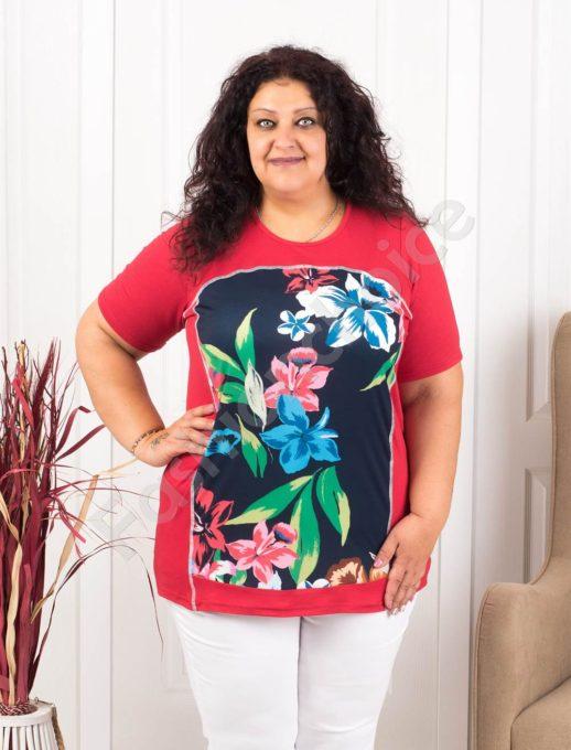 Tunica maxi cu imprimeu floral -rosu- cod-1185-8