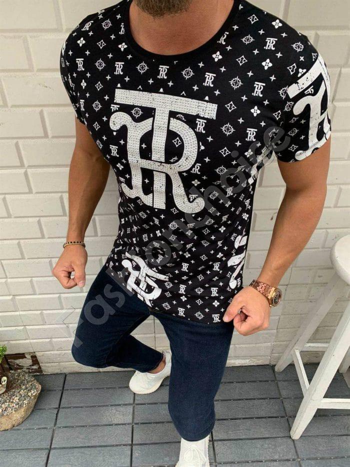 Tricou barbati cu inscris modern TR - negru cod 332-1