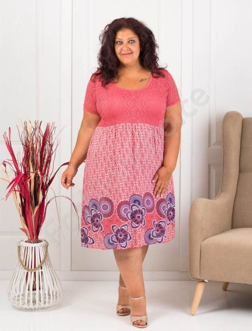 Rochie maxi cu bordura florala- corai- cod 622