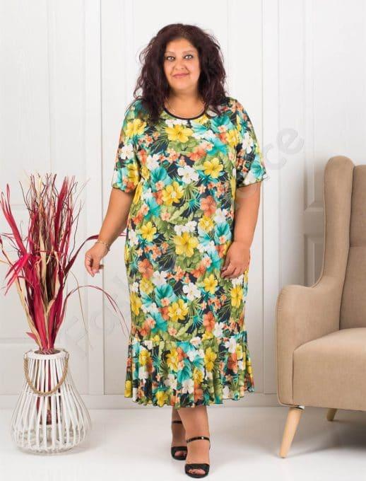 Rochie maxi cu flori multicolor- galben- cod 1089