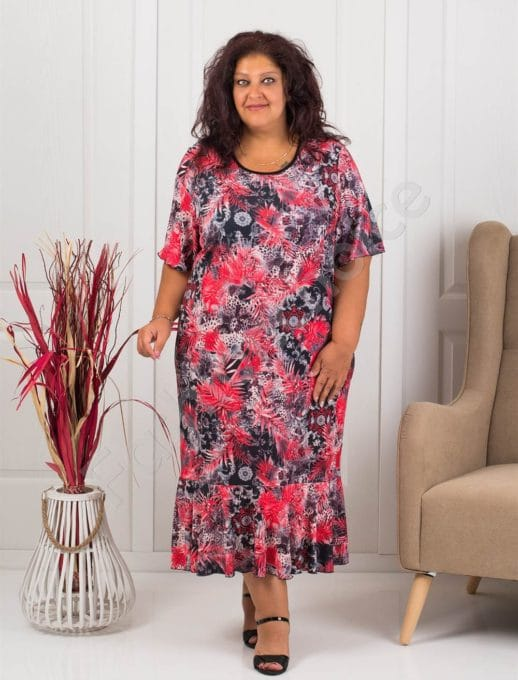 Rochie maxi cu flori multicolor- rosu- cod 1089-1