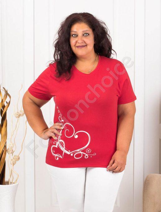Bluza maxi cu print interesant- rosu - cod 145-10