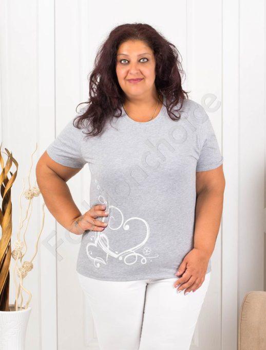Bluza maxi cu print interesant- gri - cod145-13